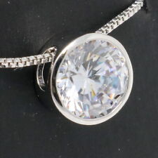 Large 2CT Round Moissanite Necklace Women Wedding Jewelry 14K White Gold Plated