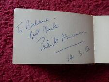 PATRICK MACNEE THE AVENGERS AUTOGRAPH 1952