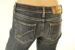 Claudio Milano Women's Jeans Black Low Rise Gold Crystal Embellished Size 3
