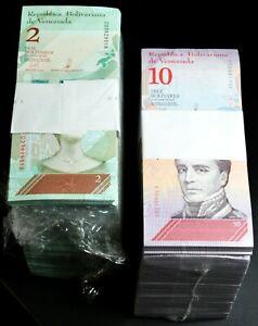 2018 Venezuela $2 & $10 Bolivares UNC 2 Bricks 2000 Pcs New UNC SKU035