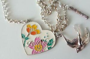 Authentic Billabong vintage necklace Floral Heart and Blue Bird Long Chain NEW