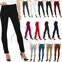 Womens Straight Leg Dress Pants - Stretch Slim Fit Pull On Style