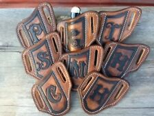TOOLED MONOGRAMMED PANCAKE STYLE KNIFE SHEATHS FOR TRAPPER / STOCKMAN KNIVES