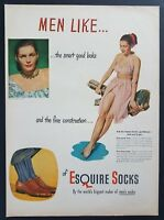 1947 Esquire Socks Mens Fashion Sexy Woman Photo Fine Construction Vtg Print Ad