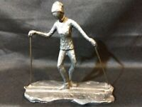 Vintage 1974 LL Pewter by Paul Lady Snow Skier Sculpture Figurine Artist Signed