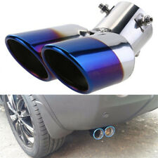 "63mm 2.5"" Stainless Steel Dual Car Exhaust Muffler Pipe Blue Tail Tip Universal"