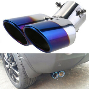 """63mm 2.5"""" Stainless Steel Dual Car Exhaust Muffler Pipe Blue Tail Tip Universal"""