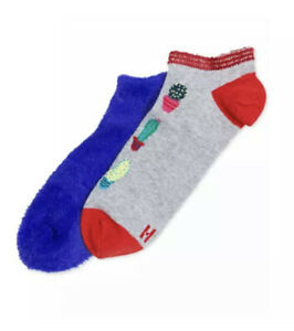 HUE Cozy Tropics 2 Pack No-show Socks, Fa La La, Blue / Gray, One Size