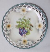 Decorative Plate Vtg Cico Bavaria Germany Lustre With Grapes & Flowers Design