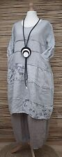 LAGENLOOK LINEN BEAUTIFUL QUIRKY PRINT SUMMER TUNIC/DRESS**GREY**BUST UP TO 48""