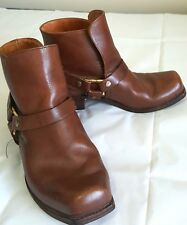 Artisan Cowboy Vaqueros Ankle Boots Made in Spain Brown Leather Mens Size 10 D