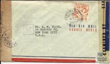 Suriname Sc#C4(single frank) Paramaribo 9/2/43 WWII Censors, Airmail to USA