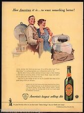 1943 WWII BALLANTINE BEER AD WW II Wringer Washing Machine Washer.after the war