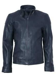 """Genuine Lakeland Mens Dark Navy Manx Biker Leather Jacket Size 40"""""""