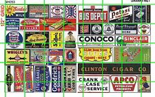 NH053 DAVE'S DECALS 1/2 Set N SCALE MIXED ASST'D SIGNAGE FARM BUS GAS DRY GOODS