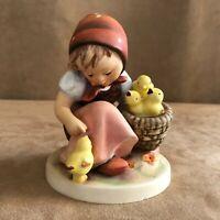 Chick girl Goebel Hummel Figurine feeding chickens 57 vintage W. Germany tmk2