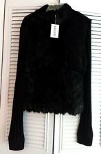 Baluchi Black Rabbit Fur Ribbed Wool Blend Knit  Zip Up Cardigan Jacket Bomber L