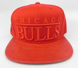 CHICAGO BULLS NBA MITCHELL & NESS RED ON RED LETTERING SNAPBACK CAP HAT NWT!