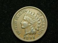 2021 SALE!!   AU 1891 INDIAN HEAD CENT PENNY w/DIAMONDS & FULL LIBERTY #160w