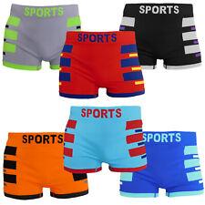 6 MEN'S Seamless Boxer Briefs HOLLYWOOD SPORTS Compression Underwear MEDIUM