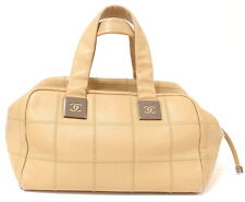 AUTHENTIC 2004 CHANEL LAX SQUARE STITCH CAFE o'LAIT SOFT CAVIAR LEATHER HANDBAG