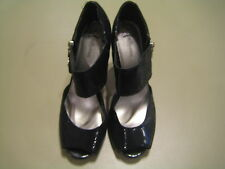 "Fergalicious ""Harem"" synthetic black open toe size 10 M high (3in and up) heels"