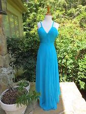 HEIKE JARICK Aqua Turquoise Blue Evening Gown PROM Dress Silk Size 2 MINT