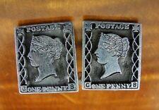 Vintage F & S One Penny Black Postage Stamp Sterling Silver CUFFLINKS
