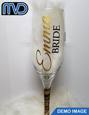 personalised Vinyl Wedding Wine Glass Champagne Flute Name Role Sticker