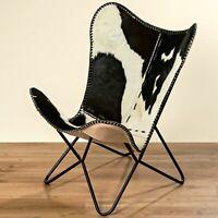 Armchair Black White Cowskin Fur Leather Club Chair Lounge New