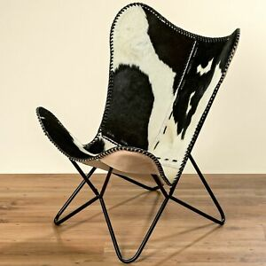Armchair Black White Cowskin Fur Leather Club Chair Lounge New
