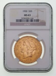 1900 $20 Gold Liberty Double Eagle Graded by NGC as MS-63