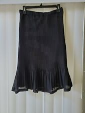 Allison Taylor Womens Pleated Fit Flare Black  Skirt Sz M