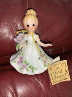 Vintage Josef Original Birthday Flower Girl Figurine June Rose Doll Of The Month
