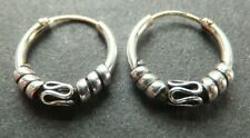 HOOP EARRINGS, BALI style, Solid Sterling Silver, 14mm *NEW* strong, sturdy