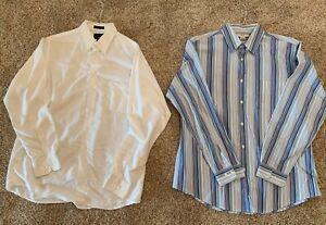 2 Men's Dress Shirt Lot Merona Bill Blass Large L 16-1/2  34/35 Cotton Polyestwr