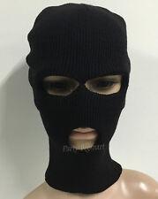 Black Knit Balaclava Beanie Motorbike Ski Fishing Hat 3 hole Face Mask Hat Warm