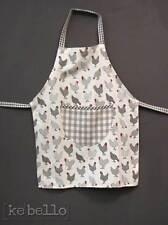 Kinderschürze Hühner Grau Weiß  Clayre & Eef Shabby Kochschürze