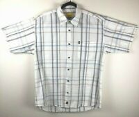Jeep Men's Size Large Short Sleeve Check Striped Collared Casual Button Up Shirt