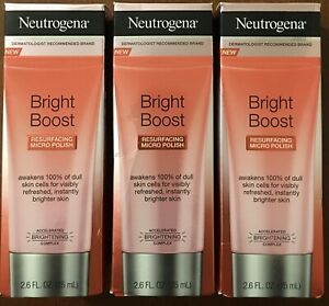 Lot Of 3 Neutrogena Bright Boost Resurfacing Micro Polish 2.6oz Each