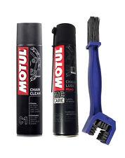 Kit pulisci lubrifica catena Motul Chain Clean C1 + C2 Chain Road + Spazzola