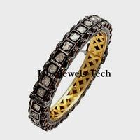 Natural Rose Cut Diamond Polki Gold & Sterling Silver Bangle Bracelet Jewelry