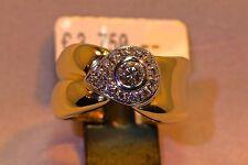 Ring 750/- Gelb/Weißgold mit 16 Brillanten 0.48ct. TW/VSI, Weite W-56.