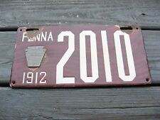1912 12 PENNSYLVANIA PA PORCELAIN LICENSE PLATE NICE TAG NO RESERVE WOODGRAIN