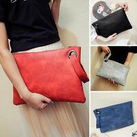 New Women PU Leather Handbag Clutch Envelope Wristlet Shoulder Evening Bag Purse