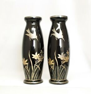 Hummingbird Vases - Gilded & Silvery Painting Reflected Through the Black Glass