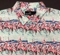 Molokai Surf Co. Flamingo Shirt Mens 2XL Birds Boats Tropical Artwork Aqua XXL