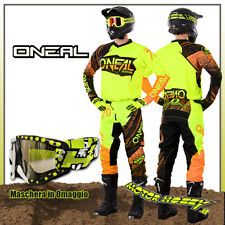 COMPLETO CROSS ENDURO O'NEAL ONEAL ELEMENT BURNOUT BLACK HI-VIZ ORANGE TG. 34--L