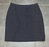 White Stuff Navy Blue Circle Print Cotton Mix Straight Skirt 10/12 Pockets Zip