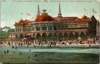 The Casino Showing Bathers Crowds on the Beach Santa Cruz California Postcard B1